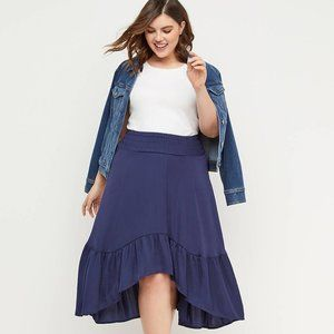 Lane Bryant High Low Satin Skirt with Ruffle NWT
